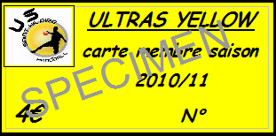 Carte de membre des Ultras Yellow